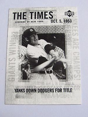 Upper Deck Legends Of New York Mickey Mantle #184 2001 The Times Bc#102 Js