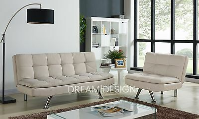 MODERN 3 SEATER Fabric Sofabed and Single Chair Lounge Suite ...