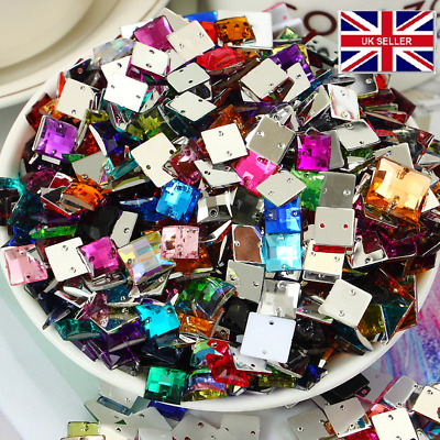 100 x Sew on Holed Acrylic Square 10mm Diamante Crystal Gems Rhinestone uk #6