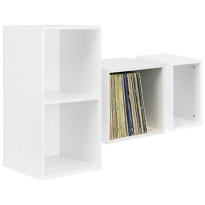 "Hartleys White Vinyl Lp Music Record Storage Box Cube 12"" Case Dj Studio Cabinet"