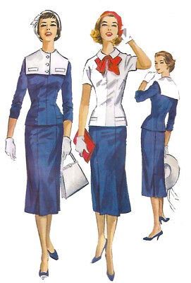 VINTAGE 1950\'S SEWING Pattern Nautical Sailor Two Piece Dress Wiggle ...
