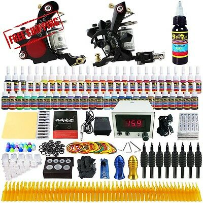 Solong Tattoo® Complete Tattoo Kit 2 Pro Machine Guns 54 Inks Power Supply Foot
