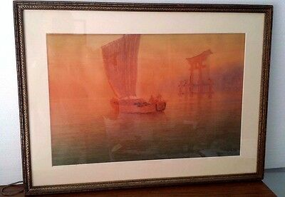 Vintage Y Ito Yuhan Fine Art Japanese Watercolor Painting 12X19 Sailing Ship