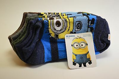 Despicable Me Minions 5 Pair Ankle No-Shows size  6-8 1/2  Multi-Colors - NEW