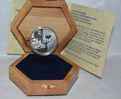 2008 ISRAEL 60th ANNIVERSARY LAND OF THE DEER Rare Platinum Medal/Coin 1 of 60