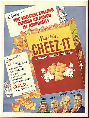 1947 Cheez-It Crackers Little Chefs Kitchen Decor Sunshine Biscuit Co Print AD
