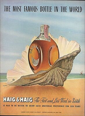 1947 Haig & Haig Scotch Bottle in Large Beach Shell Kapra Art  Print AD