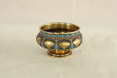 Antique 88 Silver Grachev Russian Enamel Rare Pedestal Open Salt Cellar Dip Dish
