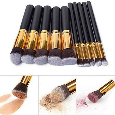 10tlg Pro Kosmetikpinsel Make UP Pinsel Pinselset Gesichtspinsel Schminkpinsel