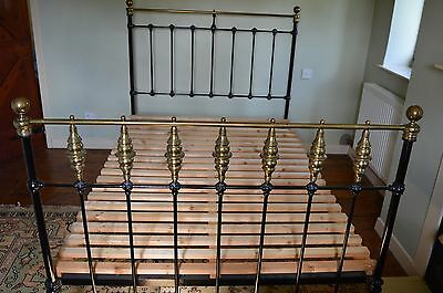 Antique 19th Century Brass and Iron Double Bed, c1890