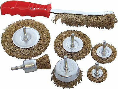 7 pc DRILL WIRE WHEEL CUP Metal BRUSH For Polishing, Rust ,Sanding - HEAVY DUTY