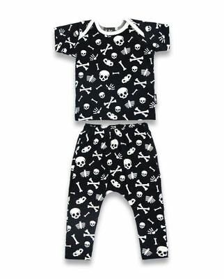 Six Bunnies Skulls n Bones Pyjamas Organic Cotton Cute Punk Rock Gothic Cool PJs