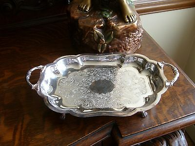Canterbury Silver Plate Handled Lion-Foot Serving Tray 11-3/4""
