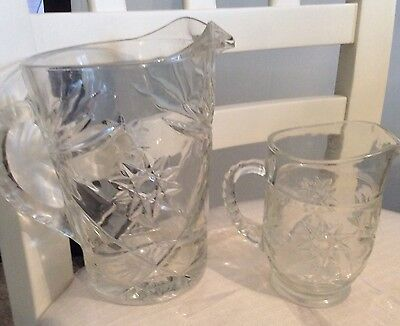 EAPC PRESSED GLASS PITCHERS Star of David Set of 2