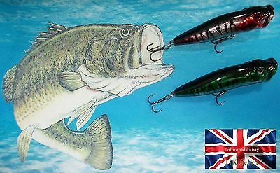 "2 x 12g 90mm 3.5"" RATTLING FLOATING SURFACE POPPER BASS PIKE FISHING LURES"