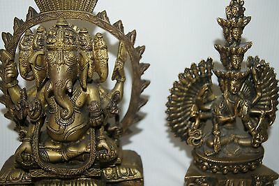 Large Detailed Ornate Metal Asian Ganesh Ganesha & Avalokiteshvara Statues