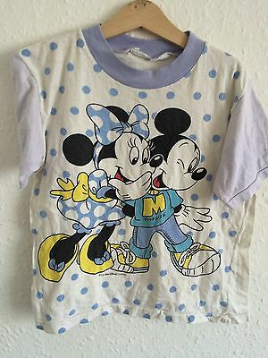 Vintage Kids Cotton 80s Disney Unisex Mickey Mouse Minnie T Shirt Top 4 5 Y