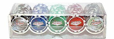 "100 Piece ""Las Vegas"" Design Poker Chips in Clear Plastic Tray"