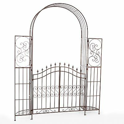 Wrought Iron Garden Gate Door Classic Vintage Iron Swinging w/ Planter Stands
