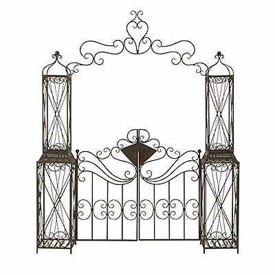 Wrought Iron Garden Gate Door Classic Vintage Iron Swinging Door Black Arbor NEW