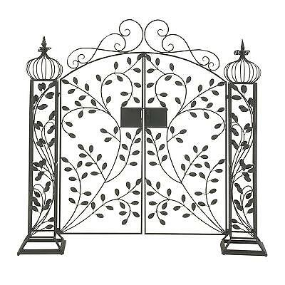 Black Wrought Iron Garden Gate Door Classic Vintage Iron Swinging Door Arbor NEW