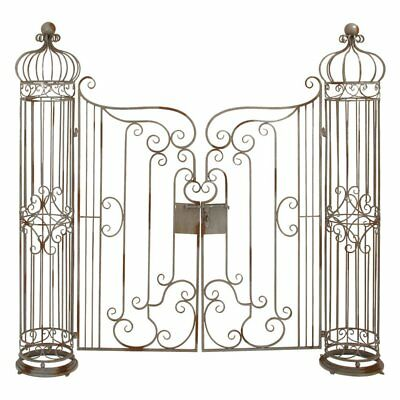 Brown  Wrought Iron Garden Gate Door Classic Vintage Iron Swinging Door Arbor