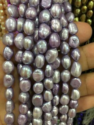 """8-9mm Natural purple Freshwater Baroque Pearl Loose Beads 15"""""""