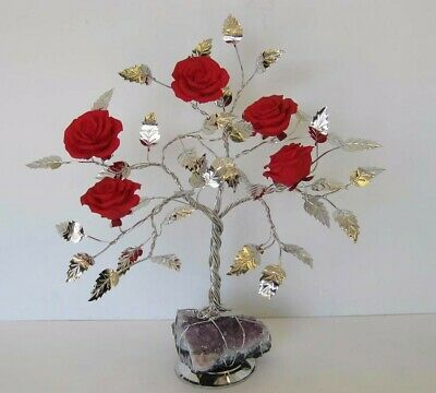 Fine Italian Silver Plate & Painted Porcelain Scarlet Rose Tree & Rock 501 Red