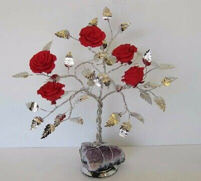 Fine Italian Silver Plated & Painted Porcelain Scarlet Rose Tree & Rock 501 Red