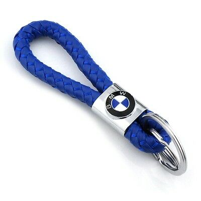 Braided Leather Blue Cord Key Chains Car Logo Holder Silver Key Ring for BMW