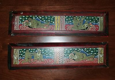 Antique Sexual Erotica Tibetan Painted Carved Wood Tantric Sutra Book Covers