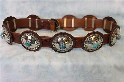 "40"" Concho belt with hand tooled leather with sterling and turqoise concho's"