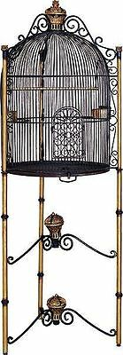 Rare Iron Bird Cage French Victorian Architectural Dome Vtg Hollywood Regency