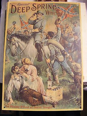 Deep Spring Whiskey Embossed Tin Advertising Sign Civil War Confederate Soldier