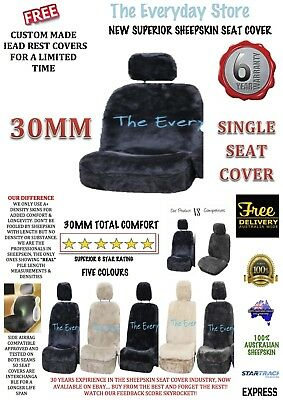 New Premium Genuine Sheepskin Car Seat Cover SINGLE 30MM Airbag Compatible 6yr