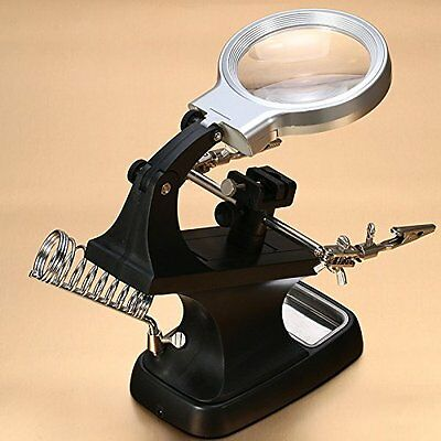 LED Helping Hand Desktop Magnifier Station - 3X 4.5X USB Lighted Third Hands / -