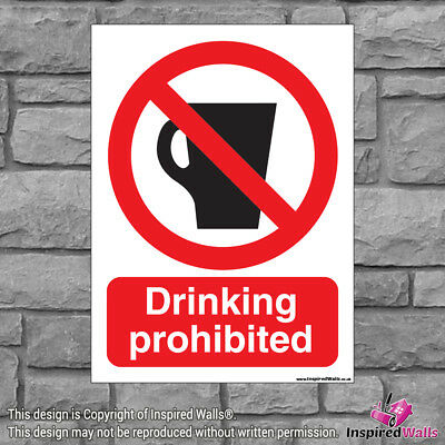 2x Drinking Prohibited - Health & Safety Warning Prohibition Sign Vinyl Sticker