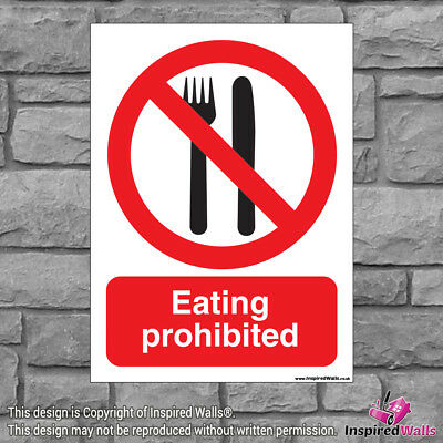 Eating Prohibited - Health & Safety Warning Prohibition Sign Sticker