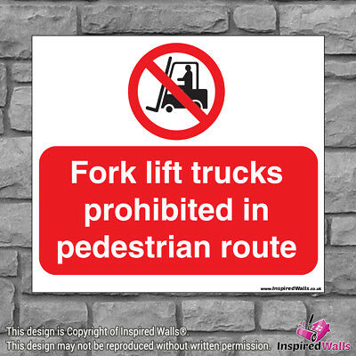 Fork Lift - Health & Safety Warning Prohibition Sign Sticker