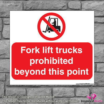 Fork Lift 2 - Health & Safety Warning Prohibition Sign Sticker