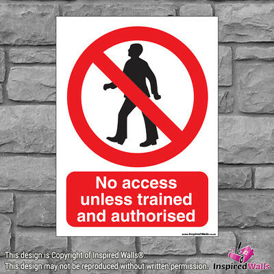 2x No Access Unless - New Health & Safety Warning Prohibition Sign Vinyl Sticker
