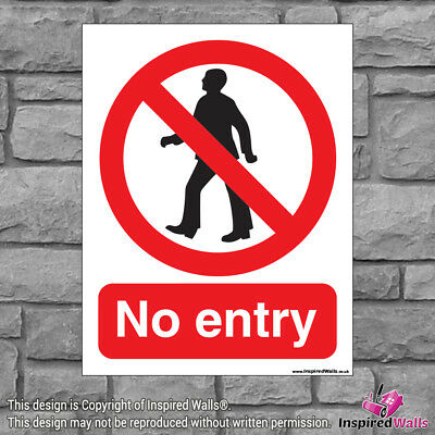 No Entry 3 - Health & Safety Warning Prohibition Sign Sticker