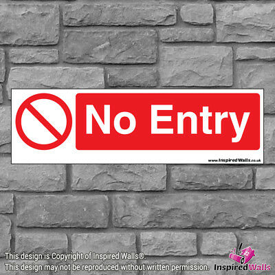 2x No Entry V2 - New Health & Safety Warning Prohibition Sign Sticker Waterproof
