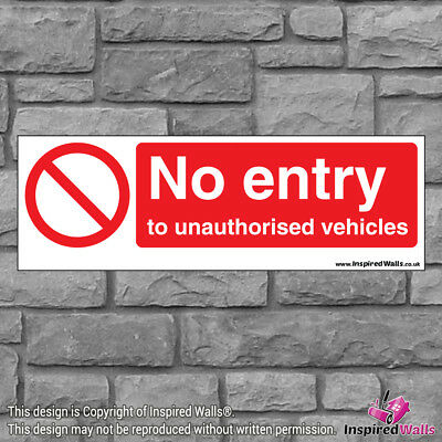 2x No Entry Vehicles - Health & Safety Warning Prohibition Sign Vinyl Sticker