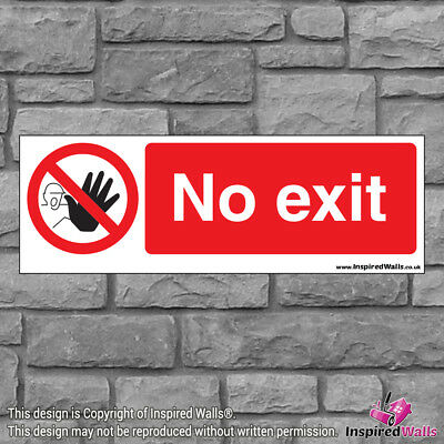 2x No Exit V4 - New Health & Safety Warning Prohibition Sign Sticker Waterproof