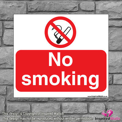 2x No Smoking - New Health & Safety Warning Prohibition Sign Sticker Waterproof