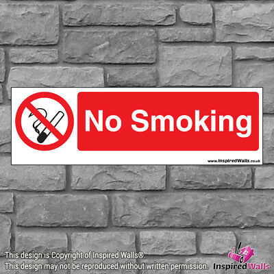 2x No Smoking V3 - Health & Safety Warning Prohibition Sign Sticker Waterproof