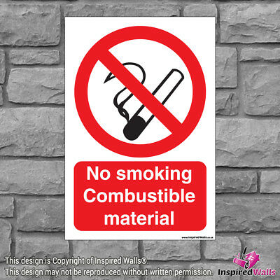 2x No Smoking Material - Health & Safety Warning Prohibition Sign Vinyl Sticker