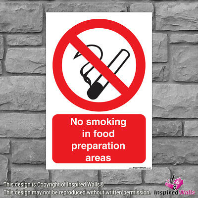 2x No Smoking In Food - Health & Safety Warning Prohibition Sign Vinyl Sticker