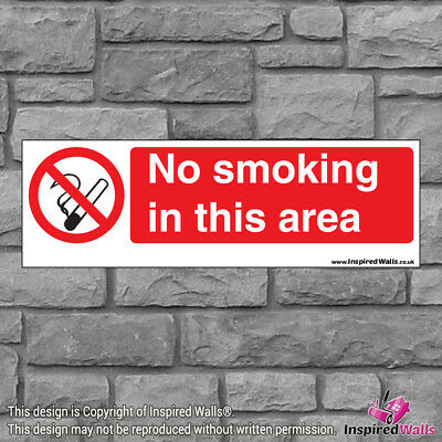 2x No Smoking In This V2 - New Health & Safety Warning Prohibition Sign Sticker